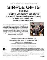 Simple Gifts flyer